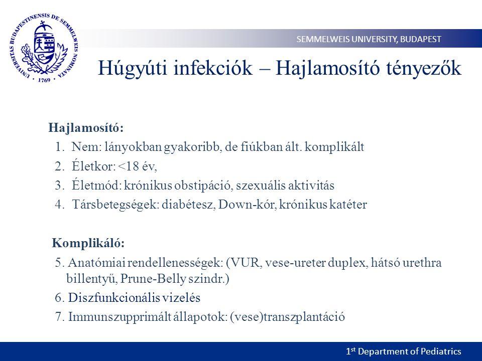 1 st Department of Pediatrics SEMMELWEIS UNIVERSITY, BUDAPEST Húgyúti infekciók – Hajlamosító tényezők Hajlamosító: 1.