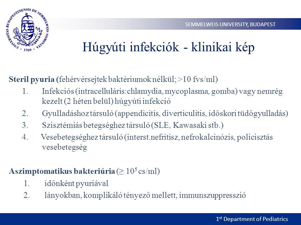 1 st Department of Pediatrics SEMMELWEIS UNIVERSITY, BUDAPEST Húgyúti infekciók - klinikai kép Steril pyuria (fehérvérsejtek baktériumok nélkül; >10 fvs/ml) 1.Infekciós (intracelluláris:chlamydia, mycoplasma, gomba) vagy nemrég kezelt (2 héten belül) húgyúti infekció 2.Gyulladáshoz társuló (appendicitis, diverticulitis, időskori tüdőgyulladás) 3.Szisztémiás betegséghez társuló (SLE, Kawasaki stb.) 4.