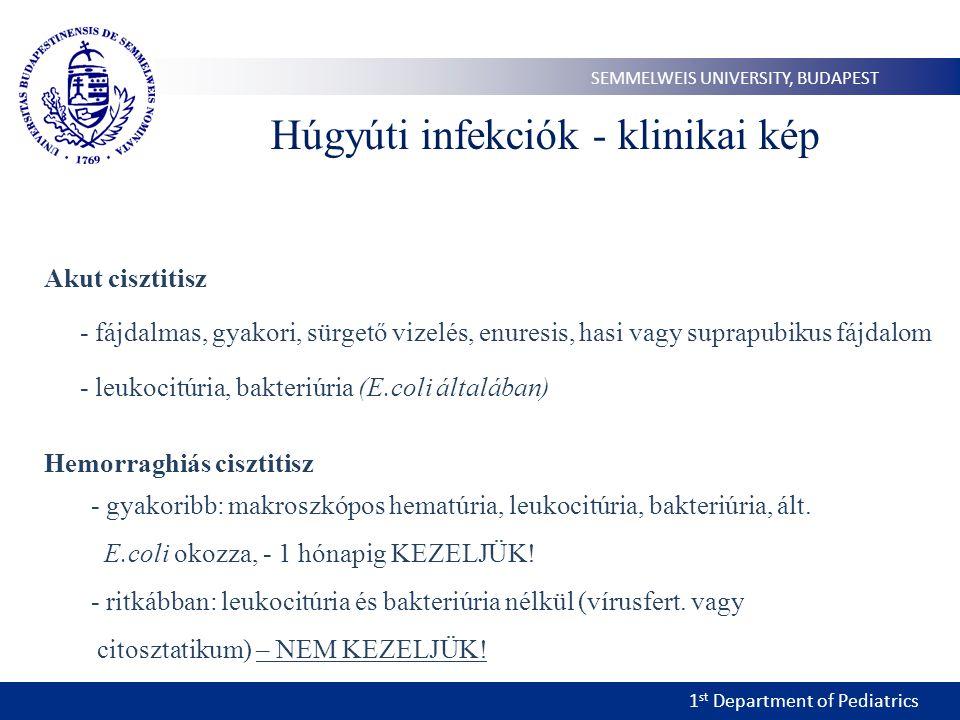 1 st Department of Pediatrics SEMMELWEIS UNIVERSITY, BUDAPEST Húgyúti infekciók - klinikai kép Akut cisztitisz - fájdalmas, gyakori, sürgető vizelés,