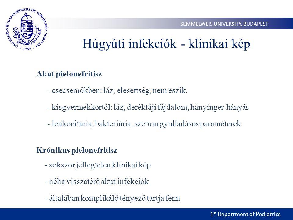 1 st Department of Pediatrics SEMMELWEIS UNIVERSITY, BUDAPEST Húgyúti infekciók - klinikai kép Akut pielonefritisz - csecsemőkben: láz, elesettség, nem eszik, - kisgyermekkortól: láz, deréktáji fájdalom, hányinger-hányás - leukocitúria, bakteriúria, szérum gyulladásos paraméterek Krónikus pielonefritisz - sokszor jellegtelen klinikai kép - néha visszatérő akut infekciók - általában komplikáló tényező tartja fenn
