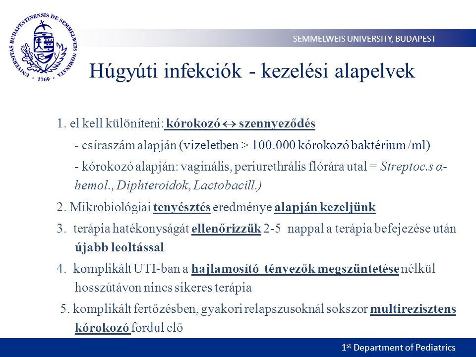 1 st Department of Pediatrics SEMMELWEIS UNIVERSITY, BUDAPEST Húgyúti infekciók - kezelési alapelvek 1. el kell különíteni: kórokozó  szennyeződés -