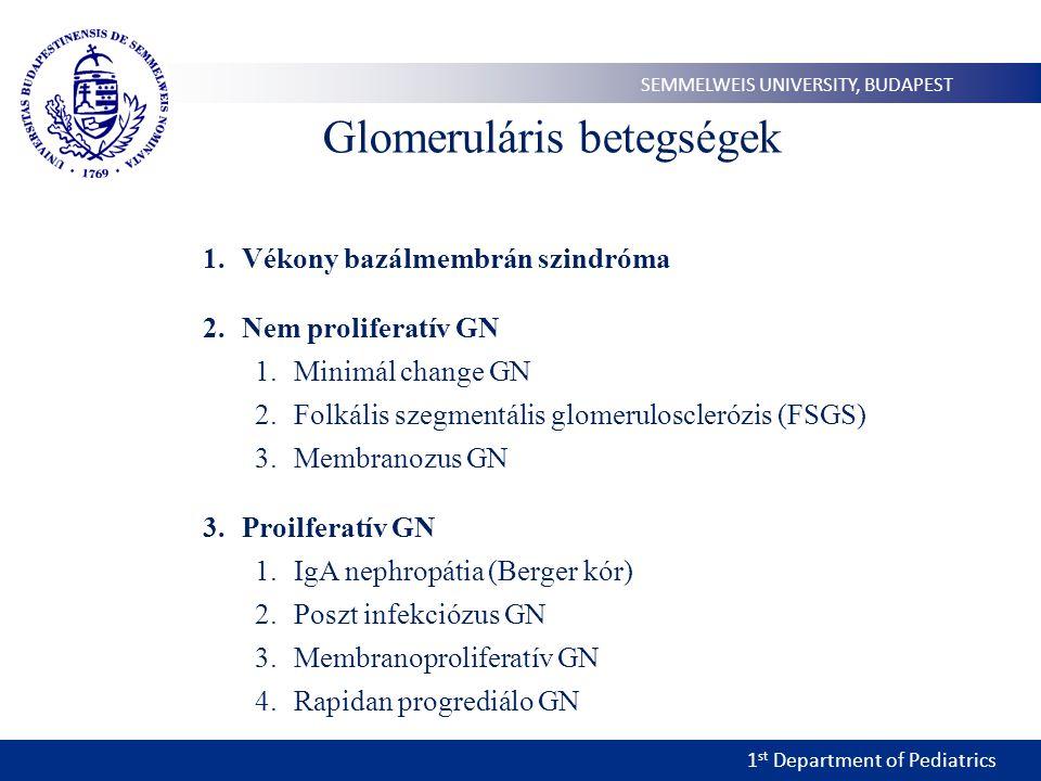 1 st Department of Pediatrics SEMMELWEIS UNIVERSITY, BUDAPEST Glomeruláris betegségek 1.Vékony bazálmembrán szindróma 2.Nem proliferatív GN 1.Minimál