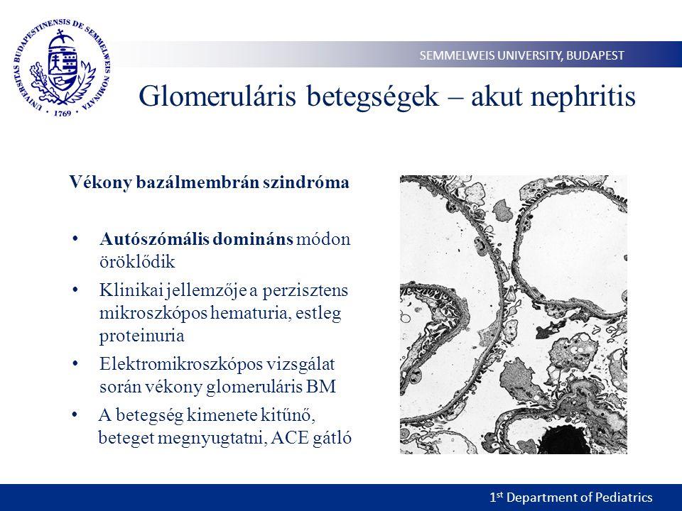 1 st Department of Pediatrics SEMMELWEIS UNIVERSITY, BUDAPEST Glomeruláris betegségek – akut nephritis Vékony bazálmembrán szindróma • Autószómális domináns módon öröklődik • Klinikai jellemzője a perzisztens mikroszkópos hematuria, estleg proteinuria • Elektromikroszkópos vizsgálat során vékony glomeruláris BM • A betegség kimenete kitűnő, beteget megnyugtatni, ACE gátló