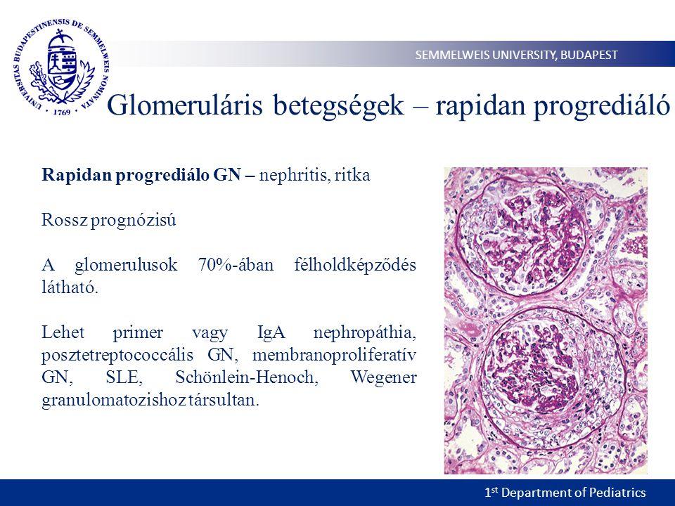 1 st Department of Pediatrics SEMMELWEIS UNIVERSITY, BUDAPEST Glomeruláris betegségek – rapidan progrediáló Rapidan progrediálo GN – nephritis, ritka Rossz prognózisú A glomerulusok 70%-ában félholdképződés látható.