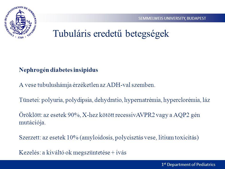 1 st Department of Pediatrics SEMMELWEIS UNIVERSITY, BUDAPEST Tubuláris eredetű betegségek Nephrogén diabetes insipidus A vese tubulushámja érzéketlen az ADH-val szemben.