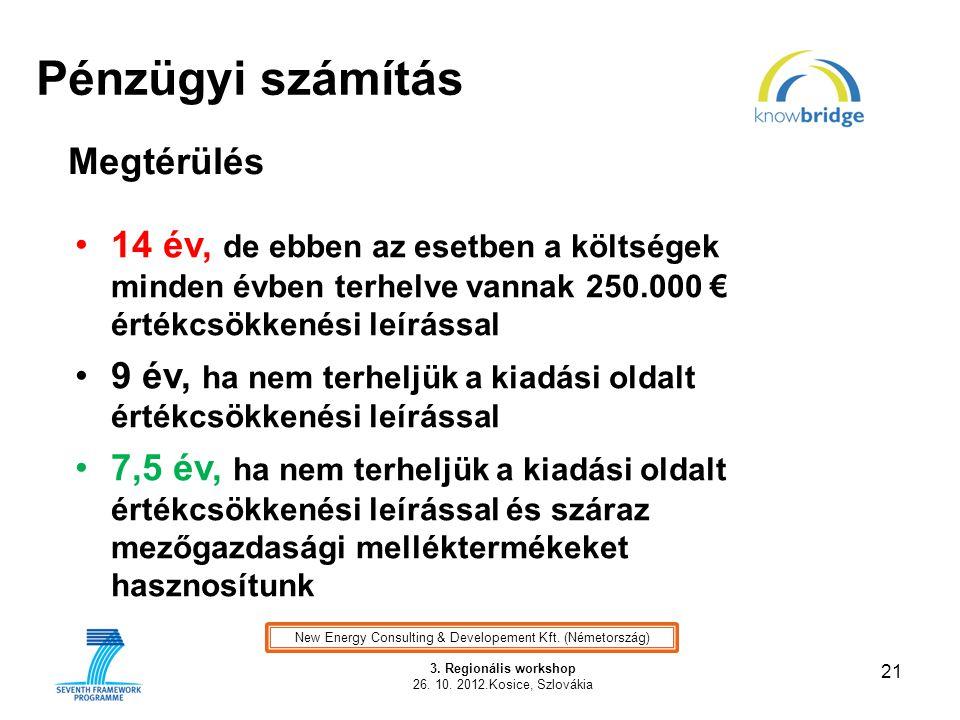 Pénzügyi számítás 21 3. Regionális workshop 26. 10. 2012.Kosice, Szlovákia Illusztráció New Energy Consulting & Developement Kft. (Németország) Megtér