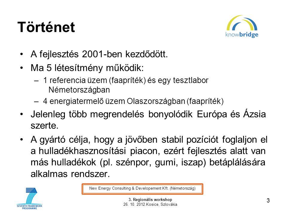 Történet •A fejlesztés 2001-ben kezdődött. •Ma 5 létesítmény működik: –1 referencia üzem (faapríték) és egy tesztlabor Németországban –4 energiatermel