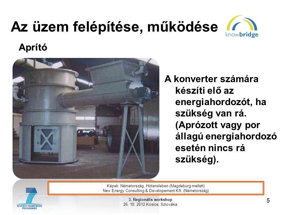 Az üzem felépítése, működése 5 3. Regionális workshop 26. 10. 2012.Kosice, Szlovákia Aprító A konverter számára készíti elő az energiahordozót, ha szü