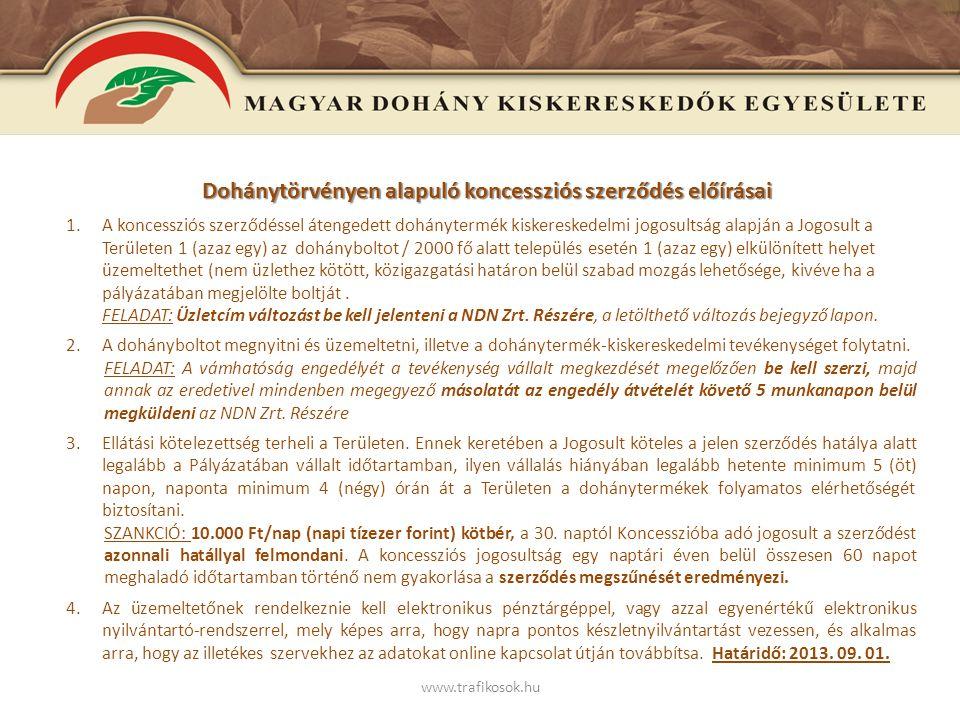 www.trafikosok.hu Dohánytörvényen alapuló koncessziós szerződés előírásai - 2 – 5.