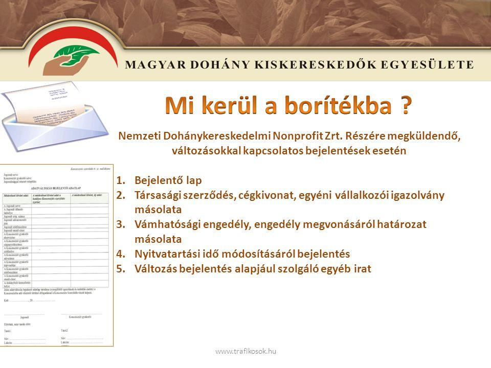 E www.trafikosok.hu Tájékoztató a szeptember 1-én bevezetésre kerülő adatszolgáltatási rendszerről (gyártó – kereskedő és a Nemzeti Dohánykereskedelmi Nonprofit Zrt.