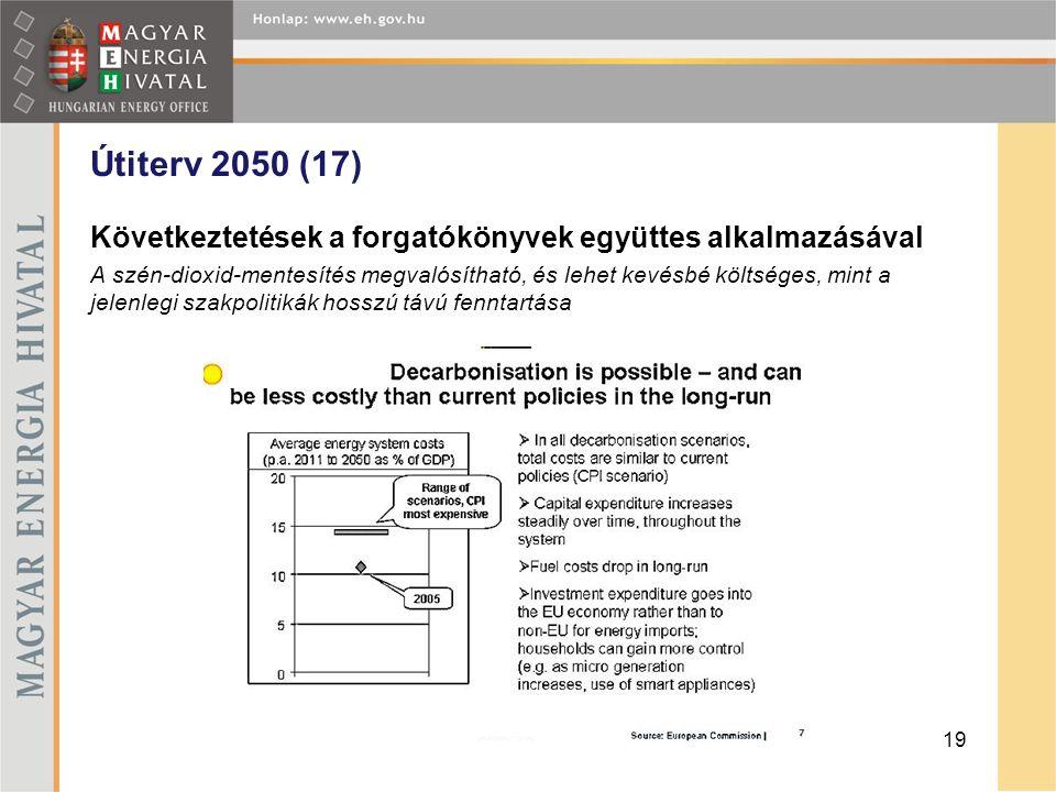Útiterv 2050 (17) Következtetések a forgatókönyvek együttes alkalmazásával A szén-dioxid-mentesítés megvalósítható, és lehet kevésbé költséges, mint a