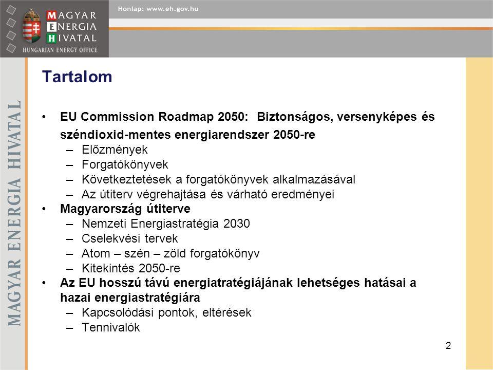 •EU Commission Roadmap 2050: Biztonságos, versenyképes és széndioxid-mentes energiarendszer 2050-re –Előzmények –Forgatókönyvek –Következtetések a for