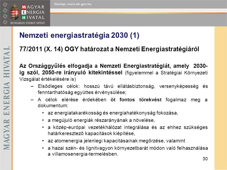 Nemzeti energiastratégia 2030 (1) 77/2011 (X. 14) OGY határozat a Nemzeti Energiastratégiáról Az Országgyűlés elfogadja a Nemzeti Energiastratégiát, a