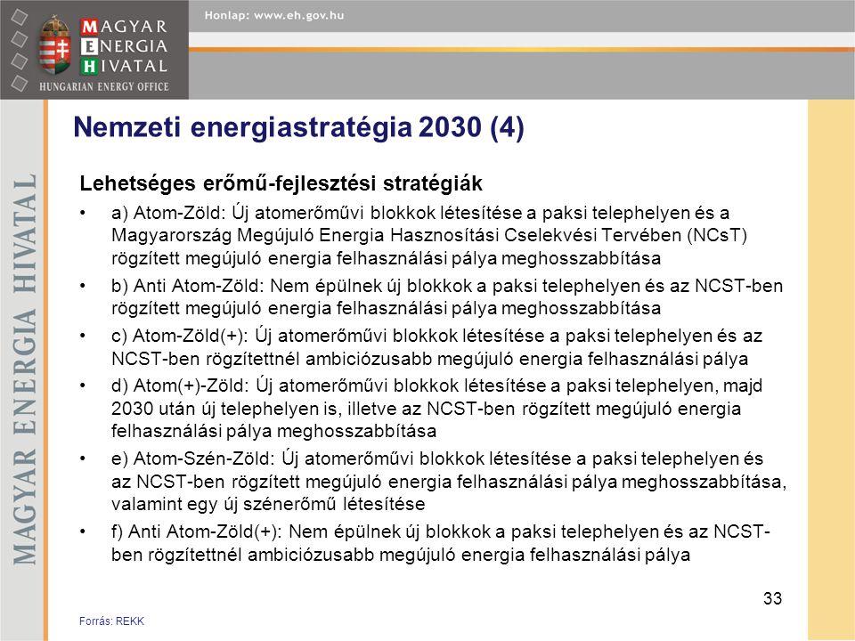 Nemzeti energiastratégia 2030 (4) Lehetséges erőmű-fejlesztési stratégiák •a) Atom-Zöld: Új atomerőművi blokkok létesítése a paksi telephelyen és a Ma