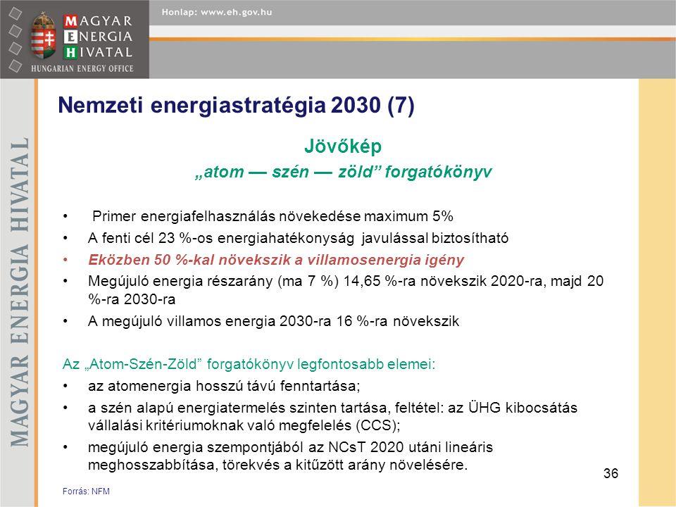 """Nemzeti energiastratégia 2030 (7) Jövőkép """"atom –– szén –– zöld"""" forgatókönyv • Primer energiafelhasználás növekedése maximum 5% •A fenti cél 23 %-os"""