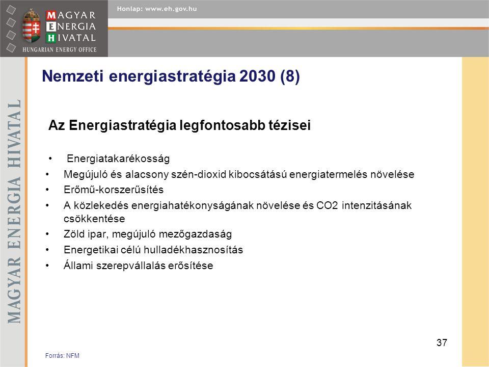 Nemzeti energiastratégia 2030 (8) Az Energiastratégia legfontosabb tézisei •Energiatakarékosság •Megújuló és alacsony szén-dioxid kibocsátású energiat