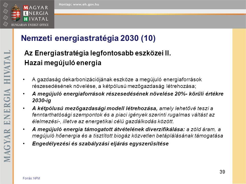 Nemzeti energiastratégia 2030 (10) Az Energiastratégia legfontosabb eszközei II. Hazai megújuló energia •A gazdaság dekarbonizációjának eszköze a megú