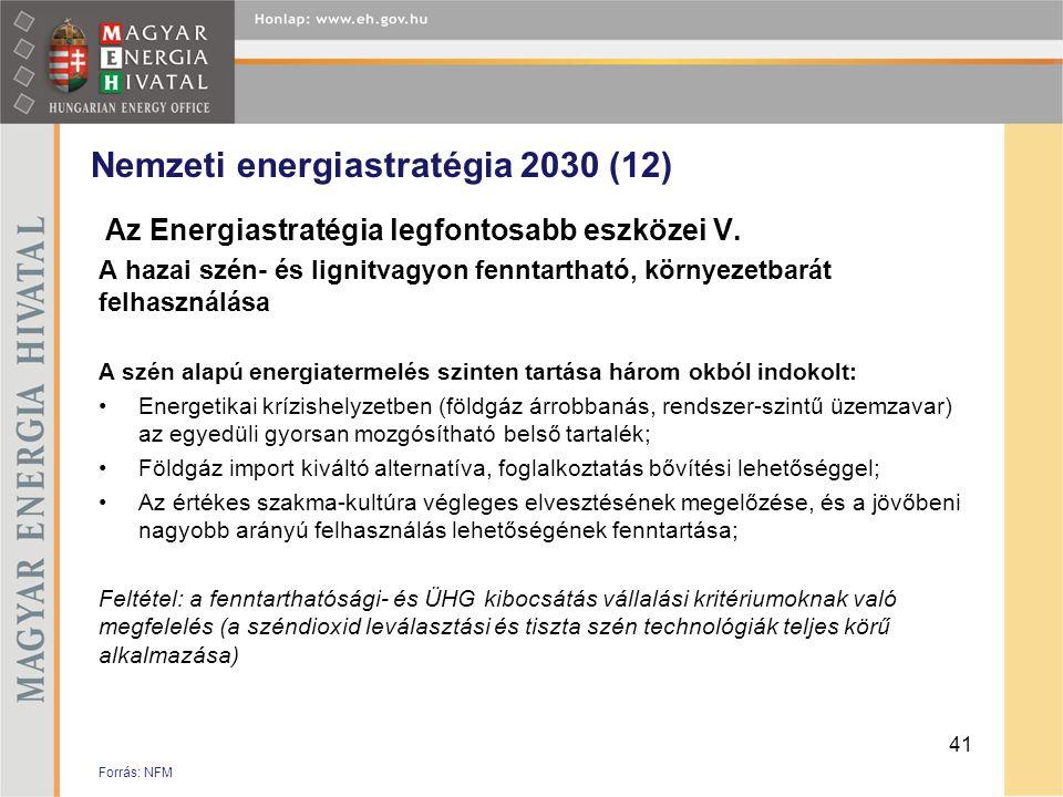 Nemzeti energiastratégia 2030 (12) Az Energiastratégia legfontosabb eszközei V. A hazai szén- és lignitvagyon fenntartható, környezetbarát felhasználá