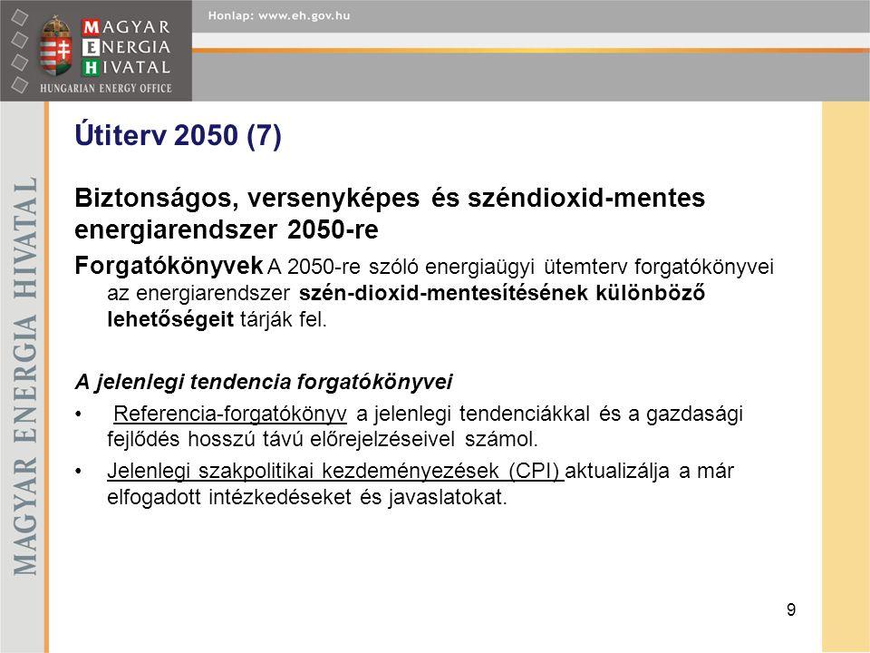 Útiterv 2050 (7) Biztonságos, versenyképes és széndioxid-mentes energiarendszer 2050-re Forgatókönyvek A 2050-re szóló energiaügyi ütemterv forgatókön