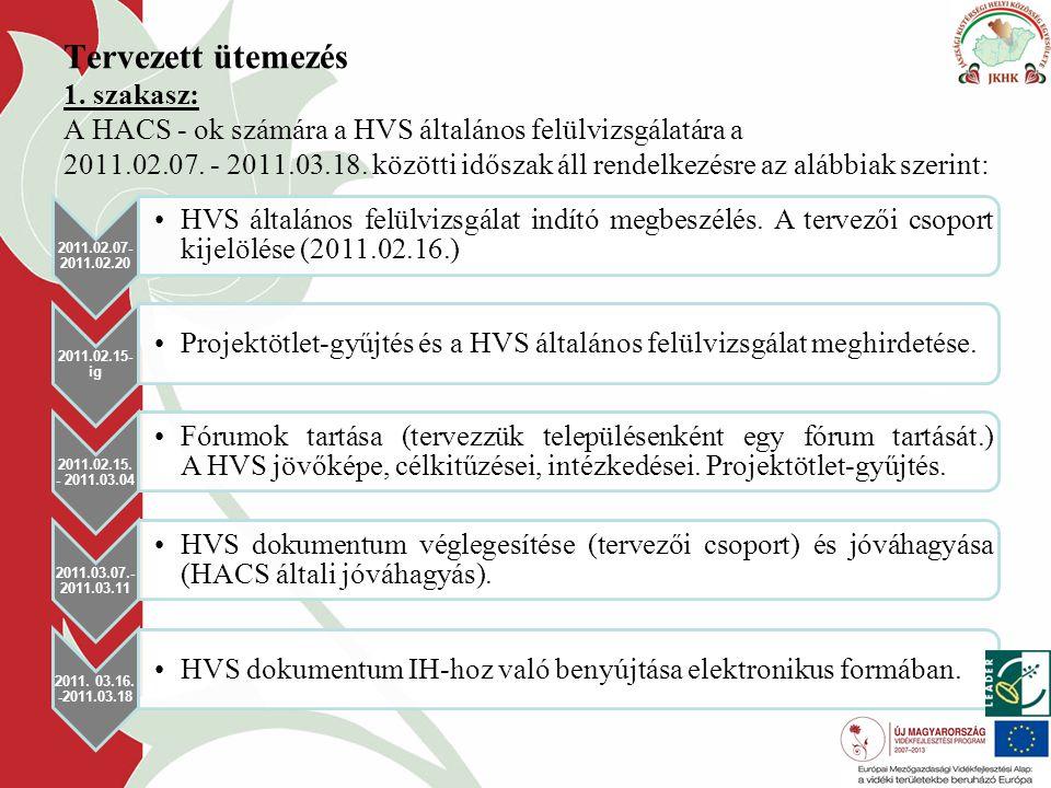 Tervezett ütemezés 1. szakasz: A HACS - ok számára a HVS általános felülvizsgálatára a 2011.02.07.
