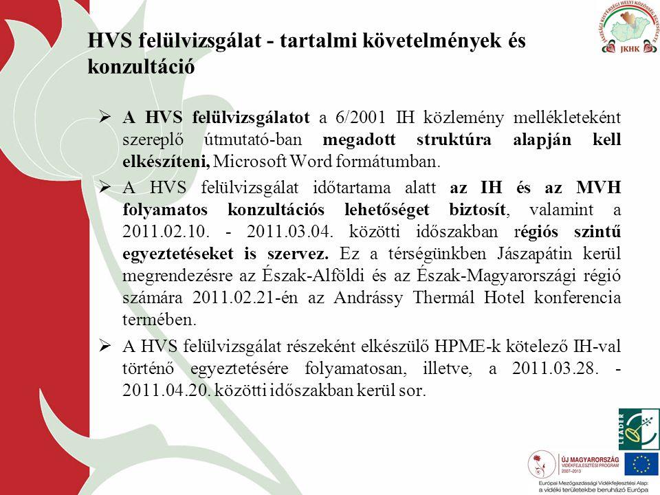 HVS felülvizsgálat - tartalmi követelmények és konzultáció  A HVS felülvizsgálatot a 6/2001 IH közlemény mellékleteként szereplő útmutató-ban megadott struktúra alapján kell elkészíteni, Microsoft Word formátumban.
