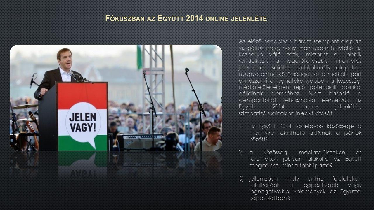F ÓKUSZBAN AZ E GYÜTT 2014 ONLINE JELENLÉTE Az előző hónapban három szempont alapján vizsgáltuk meg, hogy mennyiben helytálló az közhellyé váló tézis, miszerint a Jobbik rendelkezik a legerőteljesebb internetes jelenléttel, sajátos szubkulturális alapokon nyugvó online közösséggel, és a radikális párt aknázza ki a leghatékonyabban a közösségi médiafelületekben rejlő potenciált politikai céljainak eléréséhez.