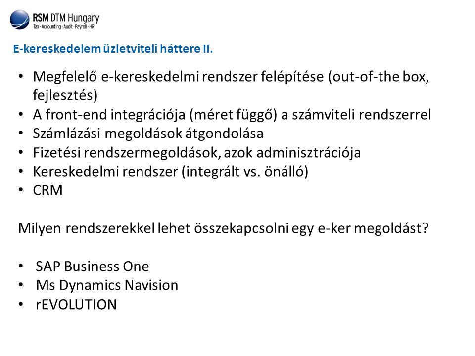 E-kereskedelem üzletviteli háttere II. • Megfelelő e-kereskedelmi rendszer felépítése (out-of-the box, fejlesztés) • A front-end integrációja (méret f