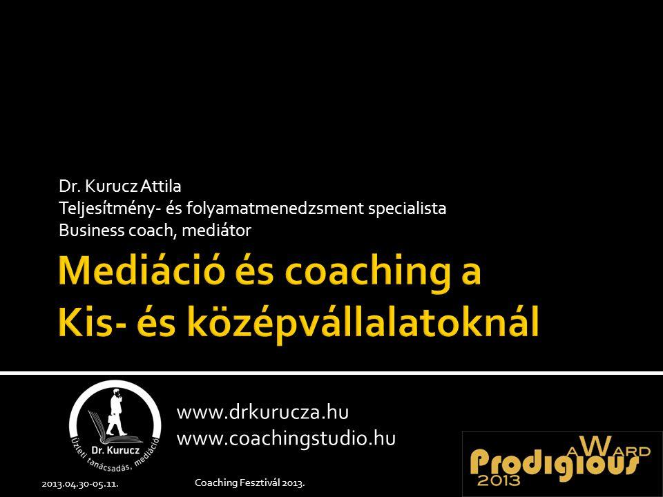 Dr. Kurucz Attila Teljesítmény- és folyamatmenedzsment specialista Business coach, mediátor 2013.04.30-05.11. Coaching Fesztivál 2013. www.drkurucza.h