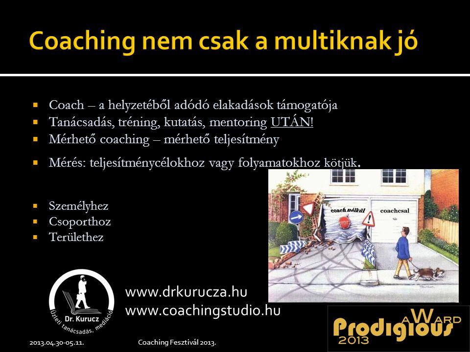  Coach – a helyzetéből adódó elakadások támogatója  Tanácsadás, tréning, kutatás, mentoring UTÁN!  Mérhető coaching – mérhető teljesítmény  Mérés:
