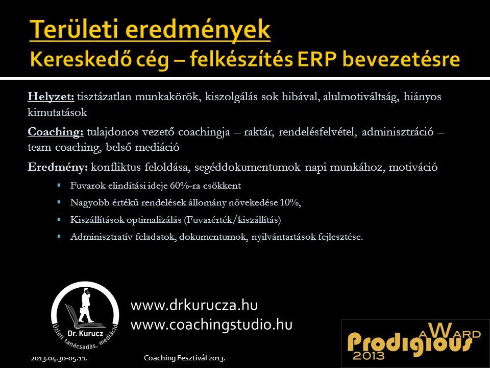 Helyzet: tisztázatlan munkakörök, kiszolgálás sok hibával, alulmotiváltság, hiányos kimutatások Coaching: tulajdonos vezető coachingja – raktár, rende