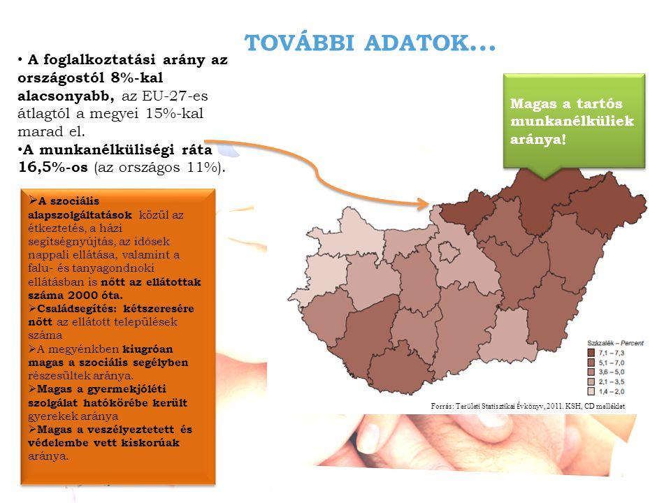 TOVÁBBI ADATOK … • A foglalkoztatási arány az országostól 8%-kal alacsonyabb, az EU-27-es átlagtól a megyei 15%-kal marad el.