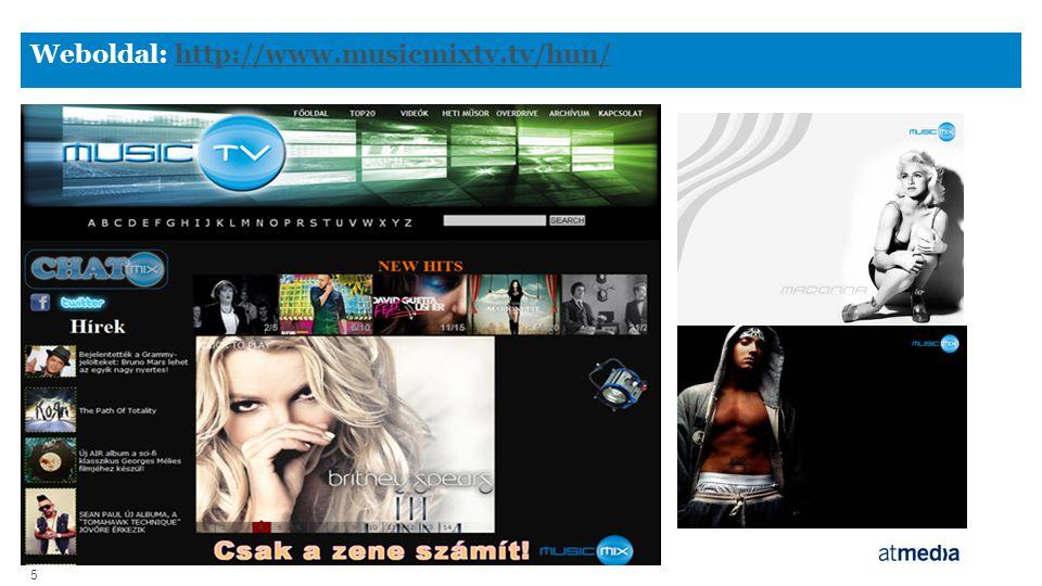 5 Weboldal: http://www.musicmixtv.tv/hun/http://www.musicmixtv.tv/hun/