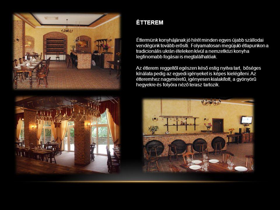ÉTTEREM Éttermünk konyhájának jó hírét minden egyes újabb szállodai vendégünk tovább erősíti.