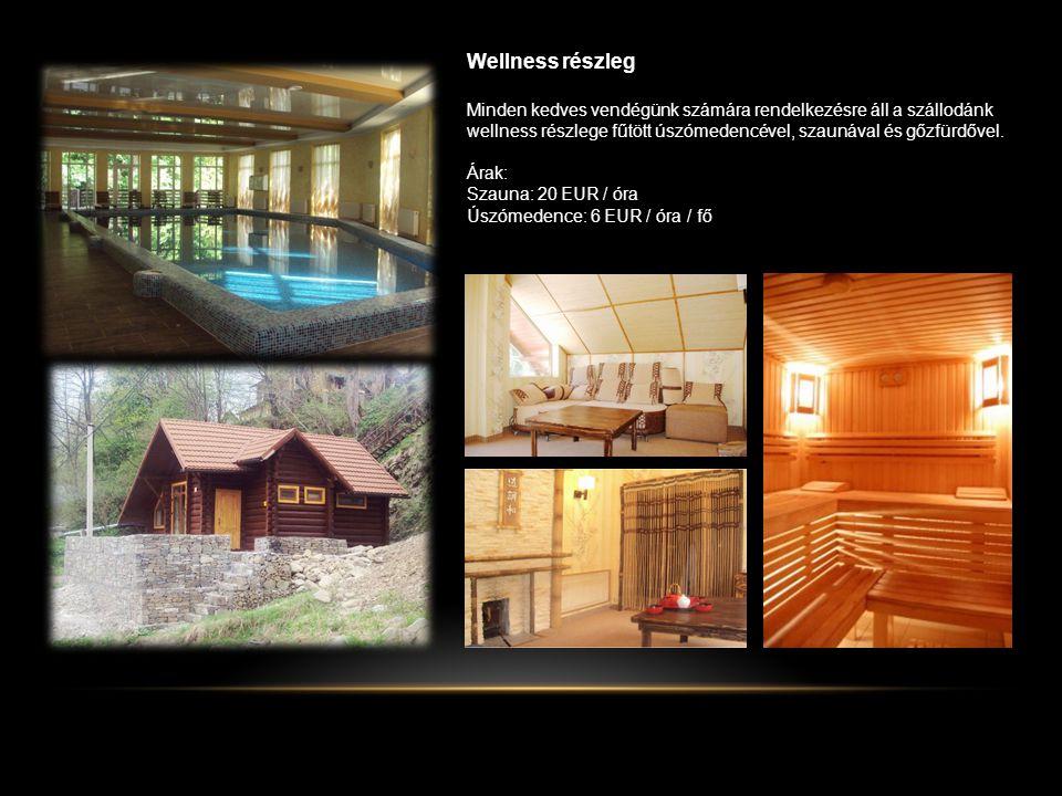 Wellness részleg Minden kedves vendégünk számára rendelkezésre áll a szállodánk wellness részlege fűtött úszómedencével, szaunával és gőzfürdővel.