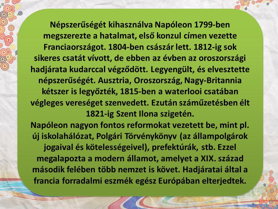Népszerűségét kihasználva Napóleon 1799-ben megszerezte a hatalmat, első konzul címen vezette Franciaországot. 1804-ben császár lett. 1812-ig sok sike