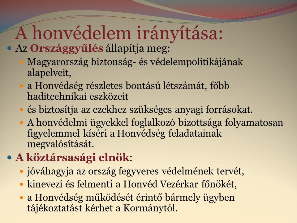A honvédelem irányítása:  Az Országgyűlés állapítja meg:  Magyarország biztonság- és védelempolitikájának alapelveit,  a Honvédség részletes bontás