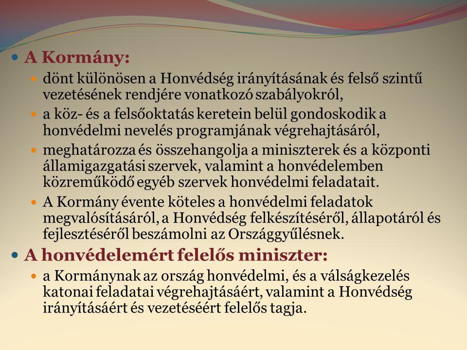  A Kormány:  dönt különösen a Honvédség irányításának és felső szintű vezetésének rendjére vonatkozó szabályokról,  a köz- és a felsőoktatás kerete