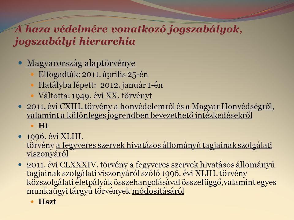 A haza védelmére vonatkozó jogszabályok, jogszabályi hierarchia  Magyarország alaptörvénye  Elfogadták: 2011. április 25-én  Hatályba lépett: 2012.