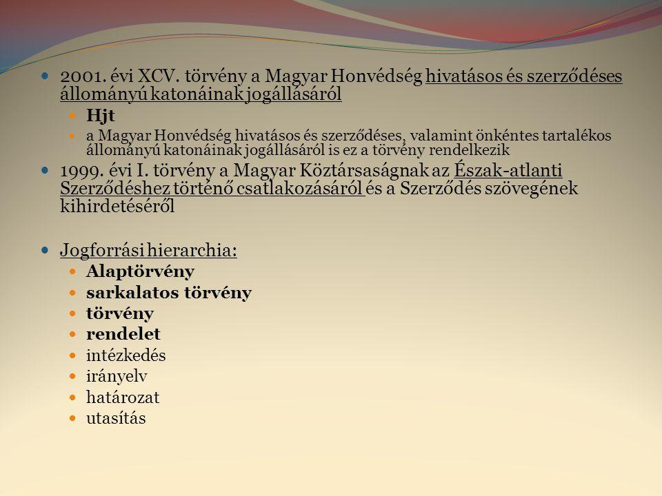  2001. évi XCV. törvény a Magyar Honvédség hivatásos és szerződéses állományú katonáinak jogállásáról  Hjt  a Magyar Honvédség hivatásos és szerződ