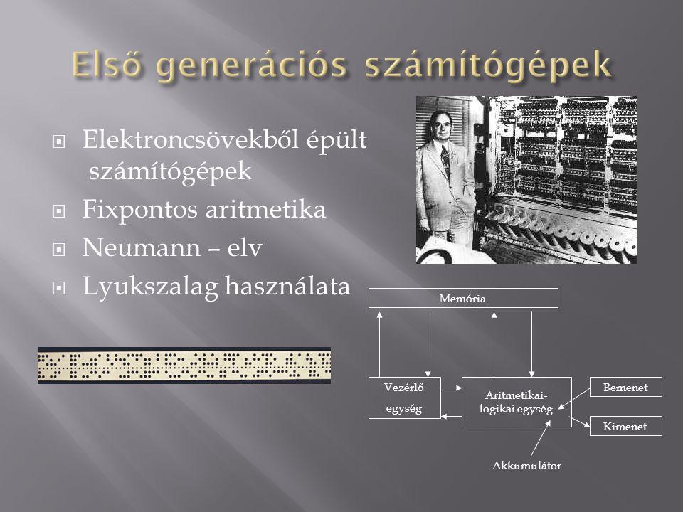  Elektroncsövekből épült számítógépek  Fixpontos aritmetika  Neumann – elv  Lyukszalag használata Memória Vezérlő egység Aritmetikai- logikai egys