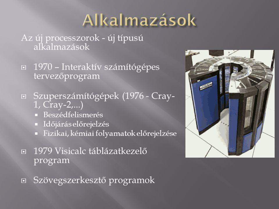 Az új processzorok - új típusú alkalmazások  1970 – Interaktív számítógépes tervezőprogram  Szuperszámítógépek (1976 - Cray- 1, Cray-2,...)  Beszéd