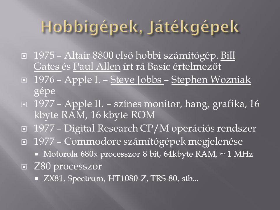  1975 – Altair 8800 első hobbi számítógép. Bill Gates és Paul Allen írt rá Basic értelmezőt  1976 – Apple I. – Steve Jobbs – Stephen Wozniak gépe 