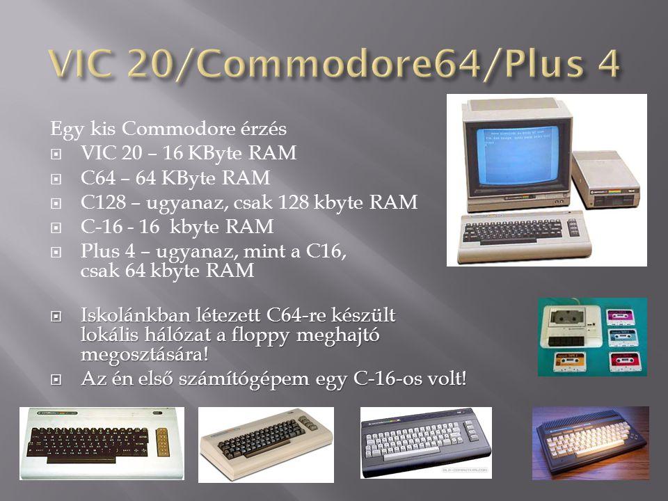 Egy kis Commodore érzés  VIC 20 – 16 KByte RAM  C64 – 64 KByte RAM  C128 – ugyanaz, csak 128 kbyte RAM  C-16 - 16 kbyte RAM  Plus 4 – ugyanaz, mi