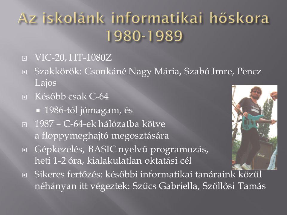  VIC-20, HT-1080Z  Szakkörök: Csonkáné Nagy Mária, Szabó Imre, Pencz Lajos  Később csak C-64  1986-tól jómagam, és  1987 – C-64-ek hálózatba kötv