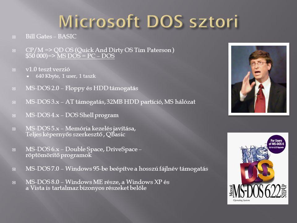 Bill Gates – BASIC  CP/M => QD OS (Quick And Dirty OS Tim Paterson ) $50 000)=> MS DOS = PC – DOS  v1.0 teszt verzió  640 Kbyte, 1 user, 1 taszk