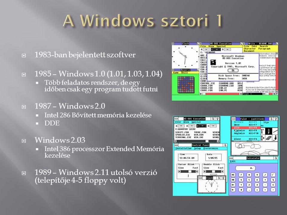  1983-ban bejelentett szoftver  1985 – Windows 1.0 (1.01, 1.03, 1.04)  Több feladatos rendszer, de egy időben csak egy program tudott futni  1987