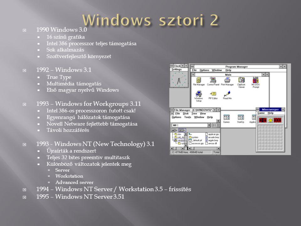  1990 Windows 3.0  16 színű grafika  Intel 386 processzor teljes támogatása  Sok alkalmazás  Szoftverfejlesztő környezet  1992 – Windows 3.1  T