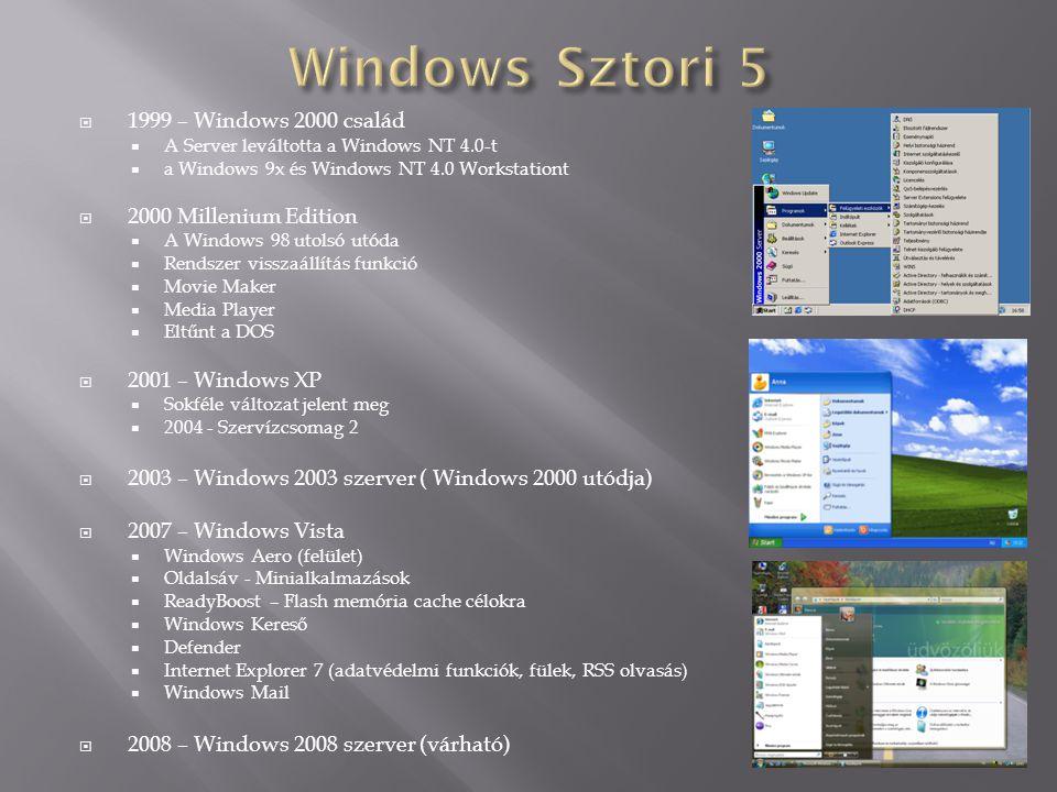  1999 – Windows 2000 család  A Server leváltotta a Windows NT 4.0-t  a Windows 9x és Windows NT 4.0 Workstationt  2000 Millenium Edition  A Windo