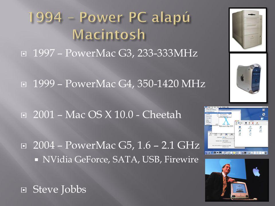  1997 – PowerMac G3, 233-333MHz  1999 – PowerMac G4, 350-1420 MHz  2001 – Mac OS X 10.0 - Cheetah  2004 – PowerMac G5, 1.6 – 2.1 GHz  NVidia GeFo