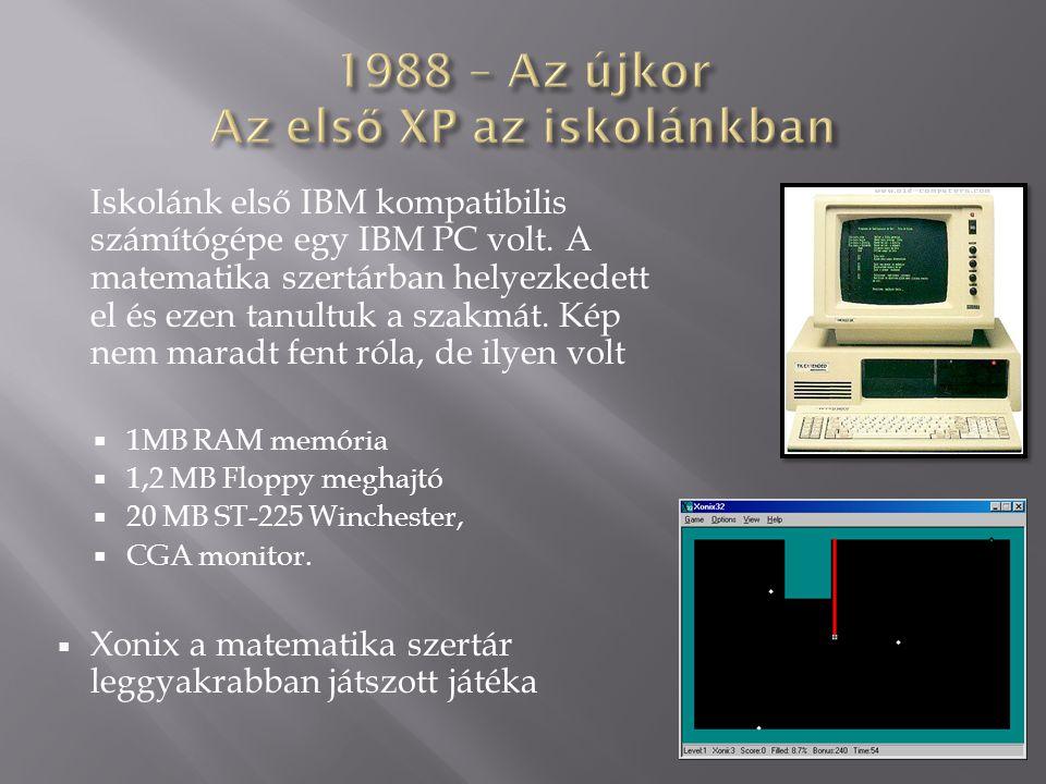 Iskolánk első IBM kompatibilis számítógépe egy IBM PC volt. A matematika szertárban helyezkedett el és ezen tanultuk a szakmát. Kép nem maradt fent ró